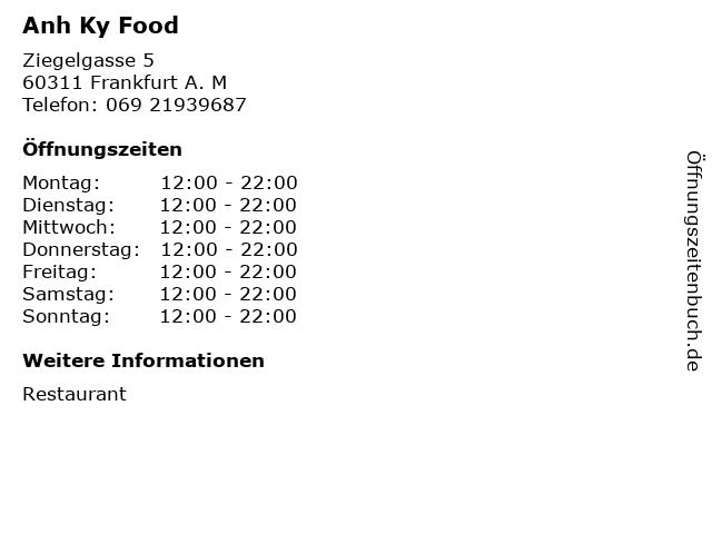 Anh Ky Food in Frankfurt A. M: Adresse und Öffnungszeiten