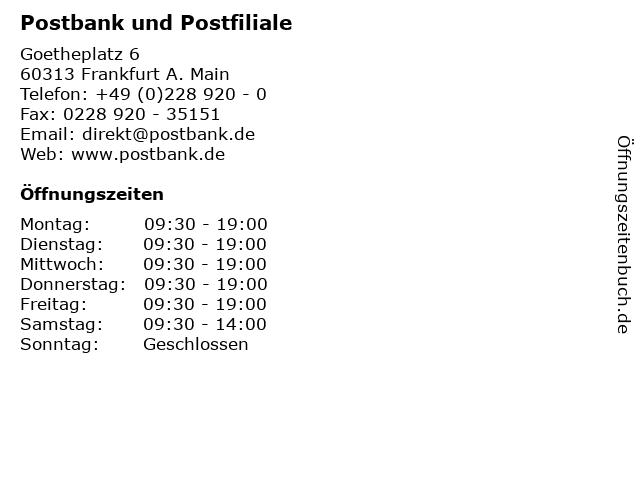 Postbank und Postfiliale in Frankfurt A. Main: Adresse und Öffnungszeiten
