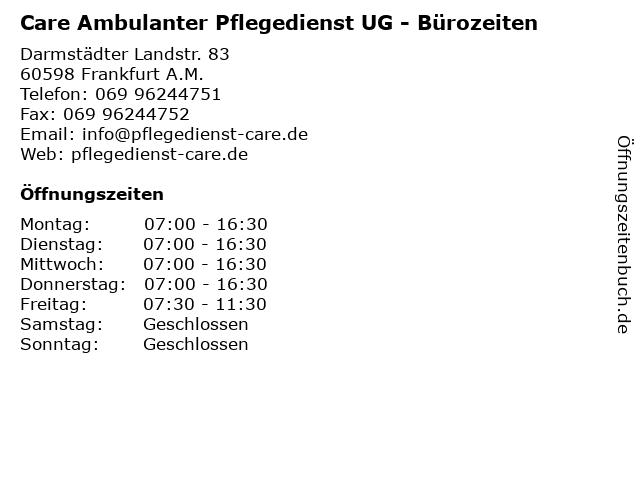 Care Ambulanter Pflegedienst UG - Bürozeiten in Frankfurt A.M.: Adresse und Öffnungszeiten
