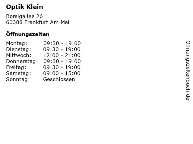 Optik Klein in Frankfurt Am Mai: Adresse und Öffnungszeiten