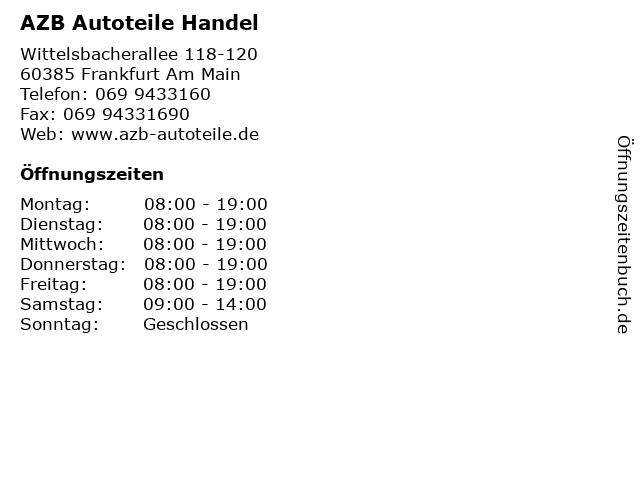 AZB Autoteile Handel in Frankfurt Am Main: Adresse und Öffnungszeiten