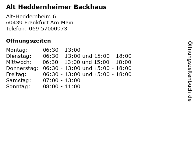 Alt Heddernheimer Backhaus in Frankfurt Am Main: Adresse und Öffnungszeiten