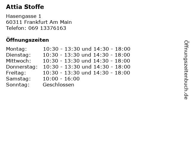 Attia Stoffe in Frankfurt Am Main: Adresse und Öffnungszeiten