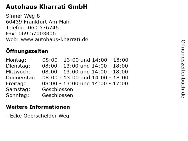 Autohaus Kharrati GmbH in Frankfurt Am Main: Adresse und Öffnungszeiten