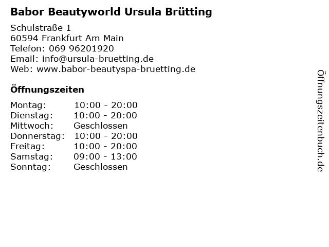 Babor Beautyworld Ursula Brütting in Frankfurt Am Main: Adresse und Öffnungszeiten