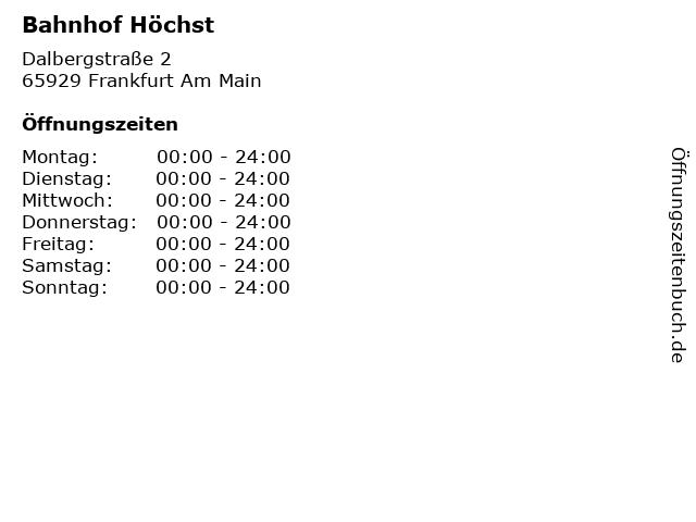 Bahnhof Höchst in Frankfurt Am Main: Adresse und Öffnungszeiten