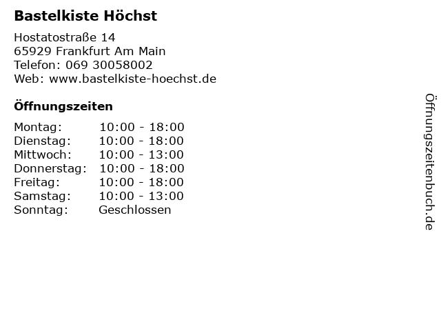 Bastelkiste Höchst in Frankfurt Am Main: Adresse und Öffnungszeiten