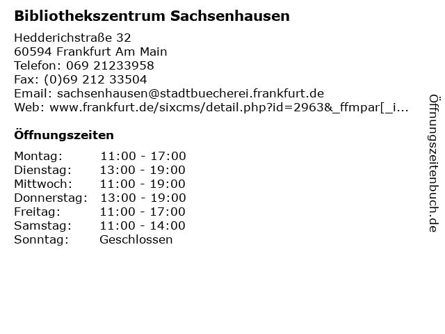 Bibliothekszentrum Sachsenhausen in Frankfurt Am Main: Adresse und Öffnungszeiten
