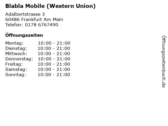 Blabla Mobile (Western Union) in Frankfurt Am Main: Adresse und Öffnungszeiten