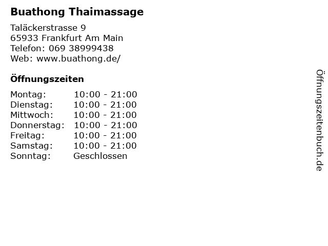 Buathong Thaimassage in Frankfurt Am Main: Adresse und Öffnungszeiten