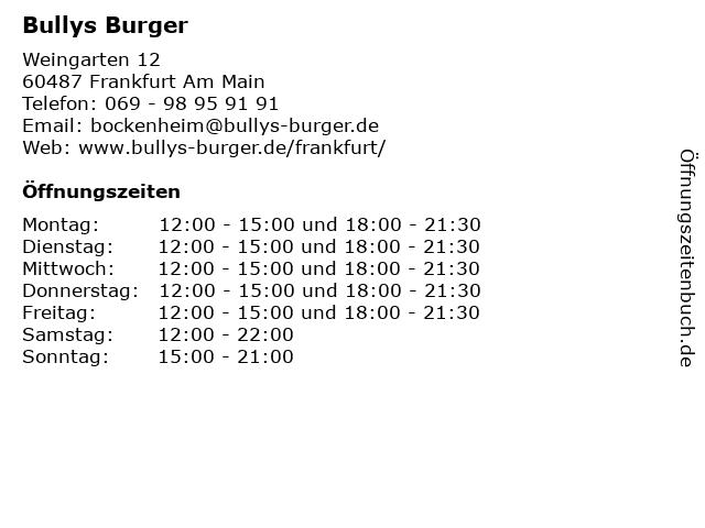 Bullys Burger in Frankfurt Am Main: Adresse und Öffnungszeiten