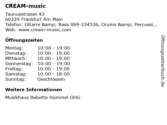 CREAM-music in Frankfurt Am Main: Adresse und Öffnungszeiten