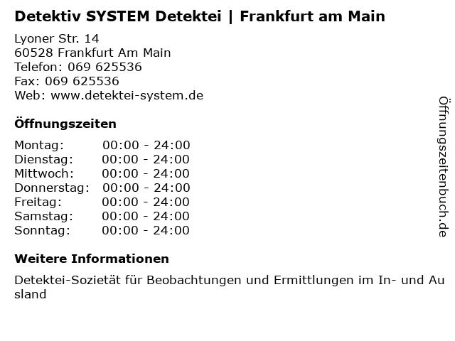 Detektiv SYSTEM Detektei   Frankfurt am Main in Frankfurt Am Main: Adresse und Öffnungszeiten
