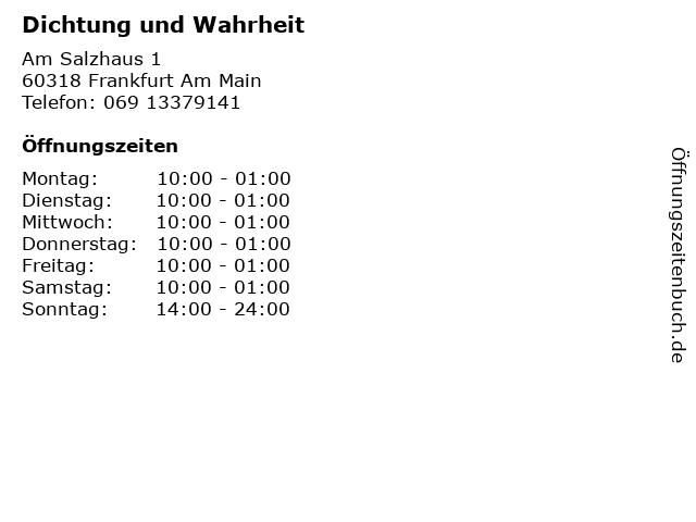 Dichtung und Wahrheit in Frankfurt Am Main: Adresse und Öffnungszeiten