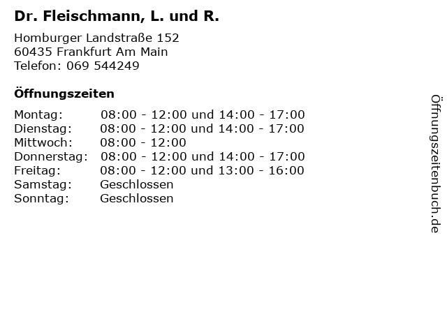 Dr. Fleischmann, L. und R. in Frankfurt Am Main: Adresse und Öffnungszeiten