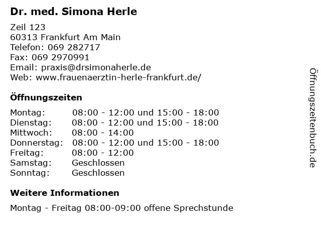 Dr. med. Simona Herle in Frankfurt Am Main: Adresse und Öffnungszeiten