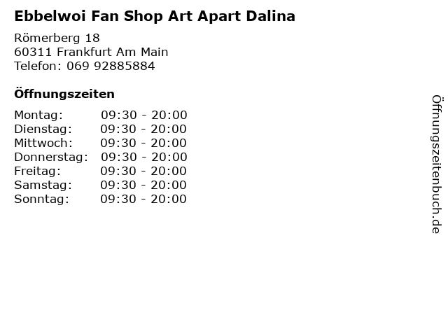Ebbelwoi Fan Shop Art Apart Dalina in Frankfurt Am Main: Adresse und Öffnungszeiten