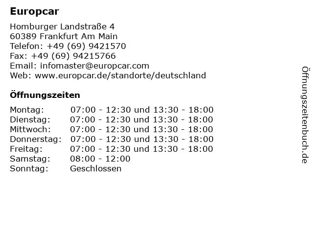 ᐅ Offnungszeiten Europcar Homburger Landstrasse 4 In Frankfurt