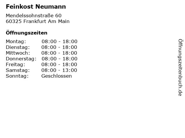 Feinkost Neumann in Frankfurt Am Main: Adresse und Öffnungszeiten
