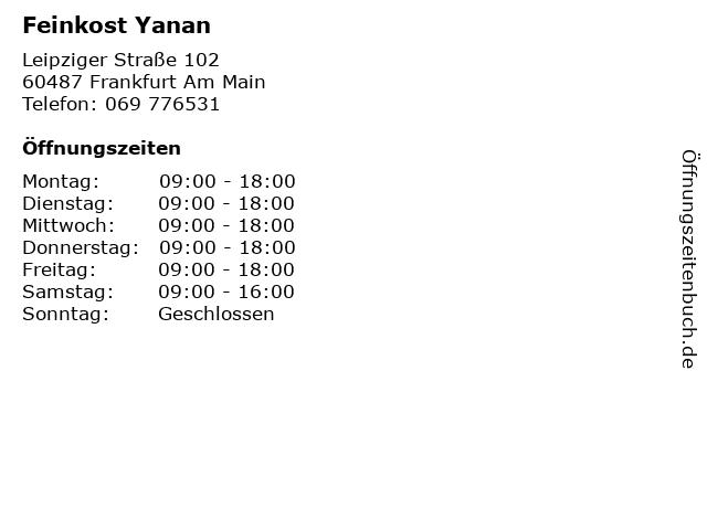 Feinkost Yanan in Frankfurt Am Main: Adresse und Öffnungszeiten