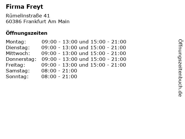 Firma Freyt in Frankfurt Am Main: Adresse und Öffnungszeiten