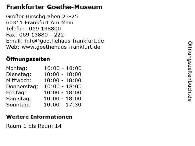 Frankfurter Goethe-Museum in Frankfurt Am Main: Adresse und Öffnungszeiten