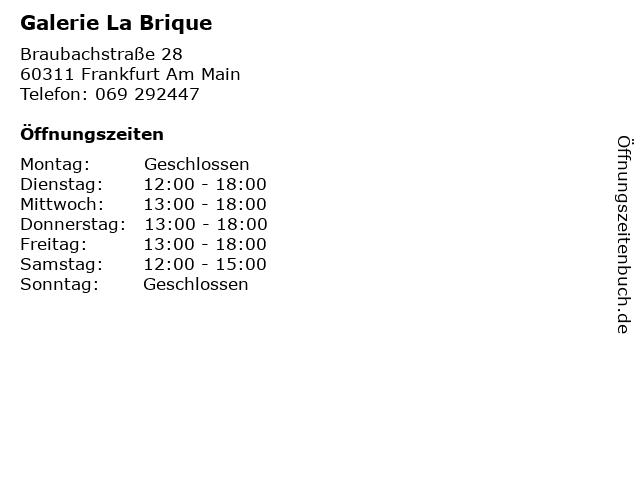 Galerie La Brique in Frankfurt Am Main: Adresse und Öffnungszeiten