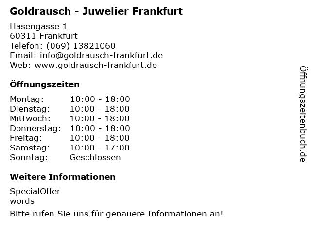 Goldankauf-Goldrausch-Sofort Bargeld in Frankfurt Am Main: Adresse und Öffnungszeiten