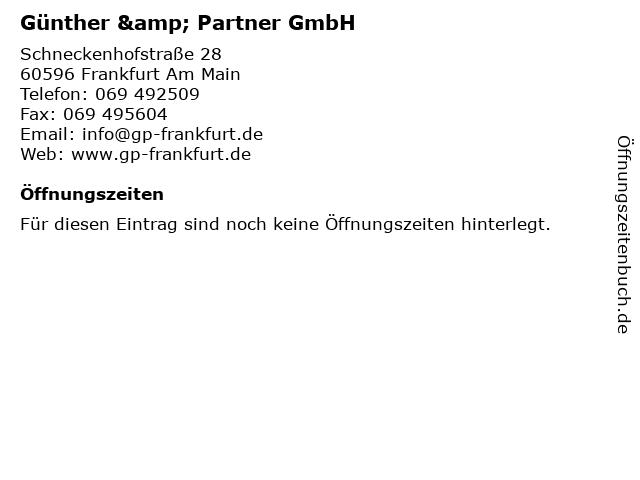 Günther & Partner GmbH in Frankfurt Am Main: Adresse und Öffnungszeiten