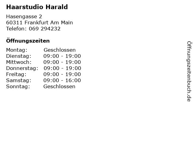 Haarstudio Harald in Frankfurt Am Main: Adresse und Öffnungszeiten