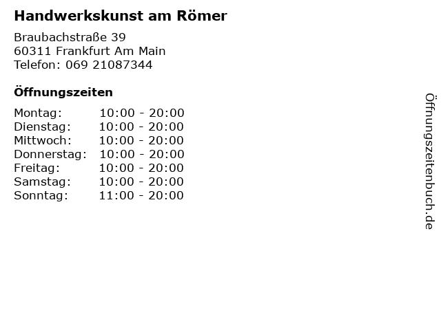 Handwerkskunst am Römer in Frankfurt Am Main: Adresse und Öffnungszeiten