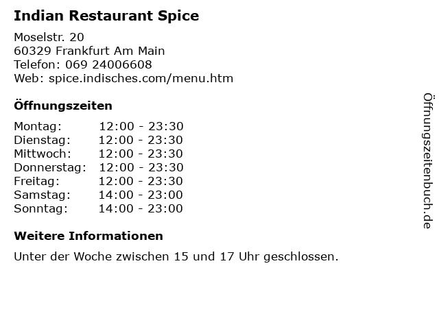 Indian Restaurant Spice in Frankfurt Am Main: Adresse und Öffnungszeiten