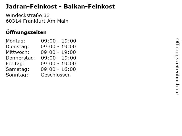 Jadran-Feinkost - Balkan-Feinkost in Frankfurt Am Main: Adresse und Öffnungszeiten