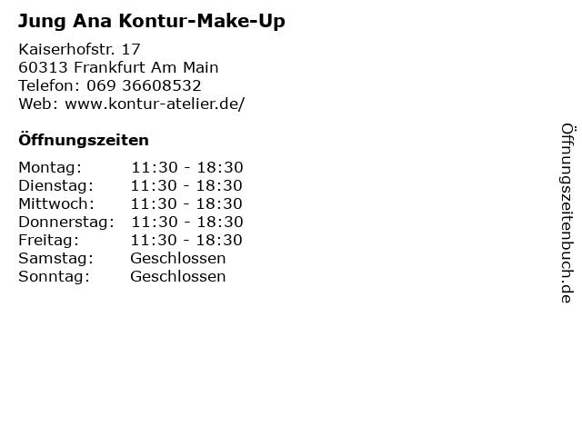 Jung Ana Kontur-Make-Up in Frankfurt Am Main: Adresse und Öffnungszeiten