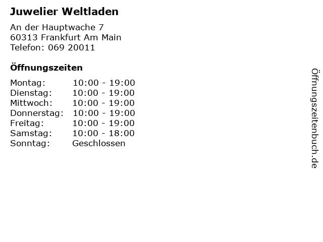 Juwelier Weltladen in Frankfurt Am Main: Adresse und Öffnungszeiten