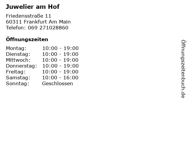 Juwelier am Hof in Frankfurt Am Main: Adresse und Öffnungszeiten