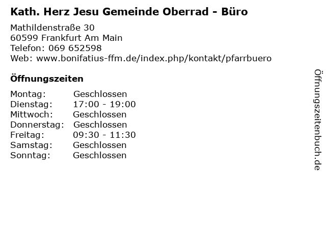 Kath. Herz Jesu Gemeinde Oberrad - Büro in Frankfurt Am Main: Adresse und Öffnungszeiten