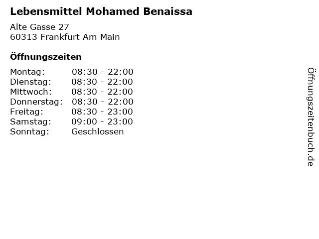 Lebensmittel Mohamed Benaissa in Frankfurt Am Main: Adresse und Öffnungszeiten