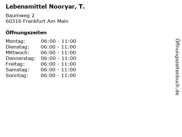 Lebensmittel Nooryar, T. in Frankfurt Am Main: Adresse und Öffnungszeiten