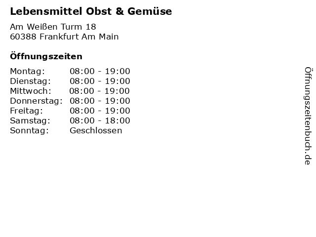 Lebensmittel Obst & Gemüse in Frankfurt Am Main: Adresse und Öffnungszeiten