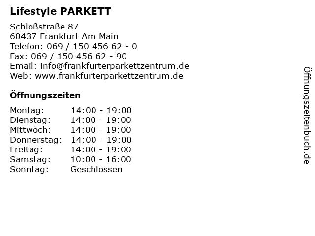 Lifestyle PARKETT in Frankfurt Am Main: Adresse und Öffnungszeiten