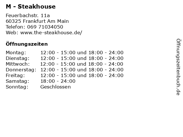 ᐅ öffnungszeiten M Steakhouse Feuerbachstr 11a In Frankfurt
