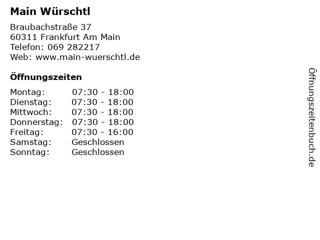 Main Würschtl in Frankfurt Am Main: Adresse und Öffnungszeiten