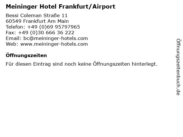 Meininger Hotel Frankfurt/Airport in Frankfurt Am Main: Adresse und Öffnungszeiten