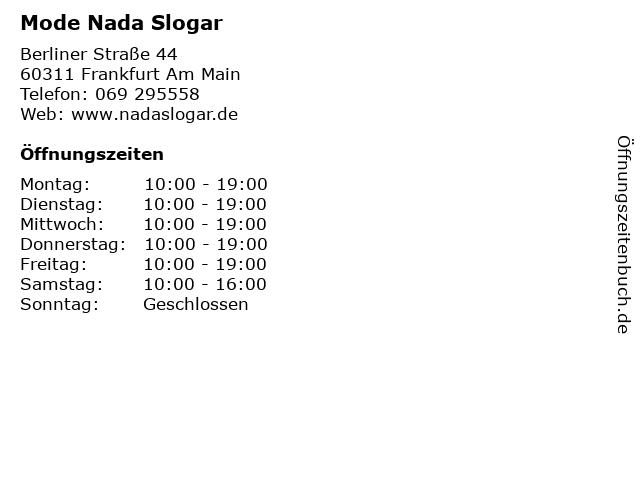 Mode Nada Slogar in Frankfurt Am Main: Adresse und Öffnungszeiten