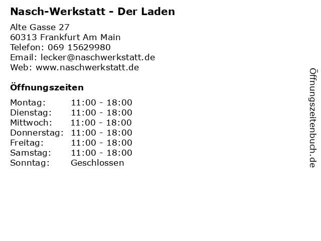 Nasch-Werkstatt - Der Laden in Frankfurt Am Main: Adresse und Öffnungszeiten