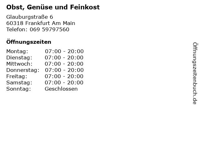 Obst, Genüse und Feinkost in Frankfurt Am Main: Adresse und Öffnungszeiten