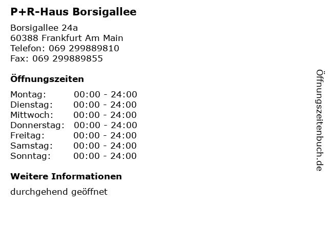 P+R-Haus Borsigallee in Frankfurt Am Main: Adresse und Öffnungszeiten
