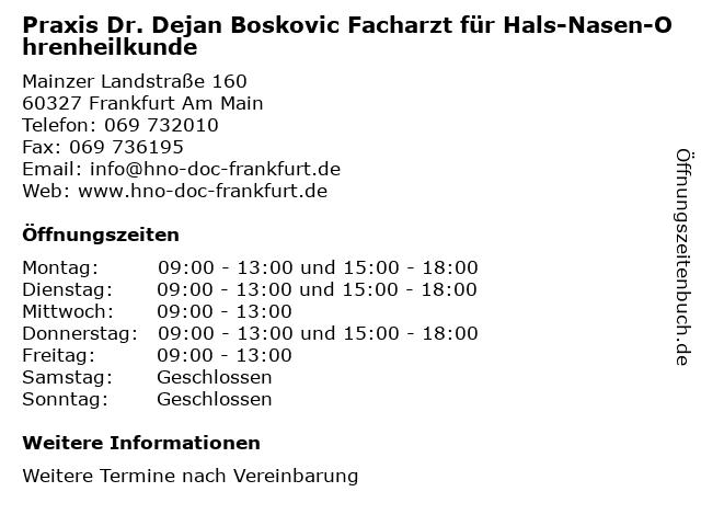 Praxis Dr. Dejan Boskovic Facharzt für Hals-Nasen-Ohrenheilkunde in Frankfurt Am Main: Adresse und Öffnungszeiten