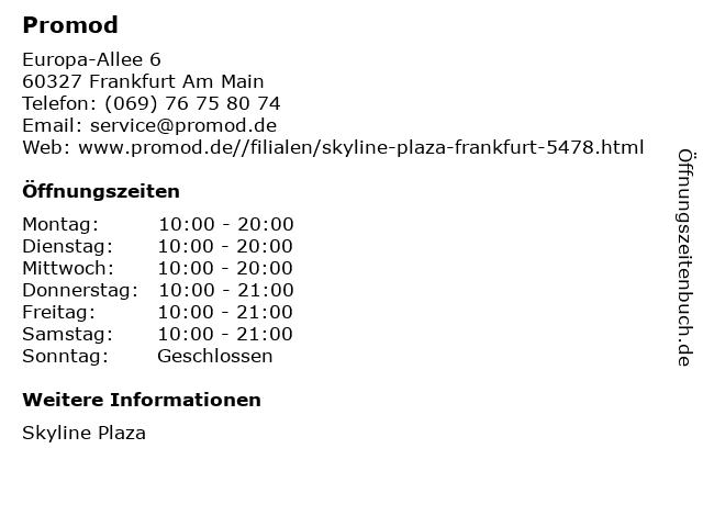 Promod in Frankfurt Am Main: Adresse und Öffnungszeiten